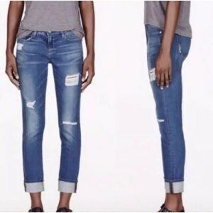 FRAME Le Garcon Slim Boyfriend Jeans Distressed
